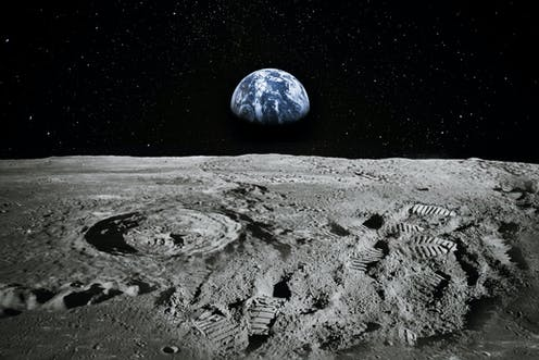 Earth from moon, footsteps on moon