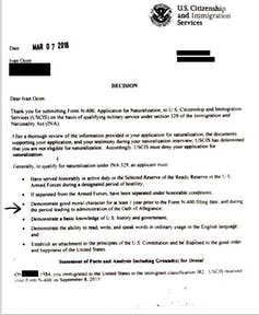 Redacted letter from the U.S. Citizenship and Immigration Services