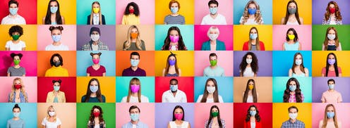 Five colourful rows of people wearing masks