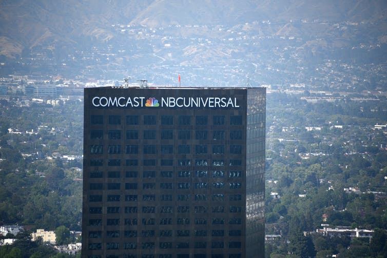 The Comcast-NBC-Universal building in Hollywood, Calif.