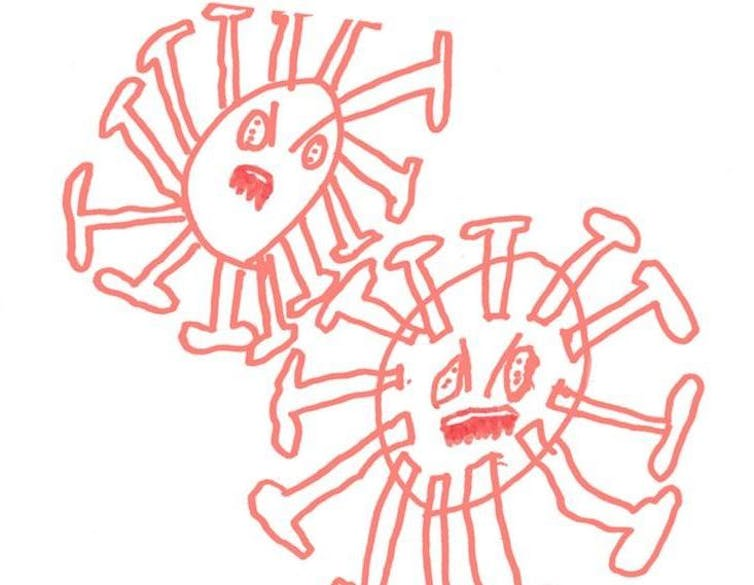 Child's drawing of two coronaviruses.