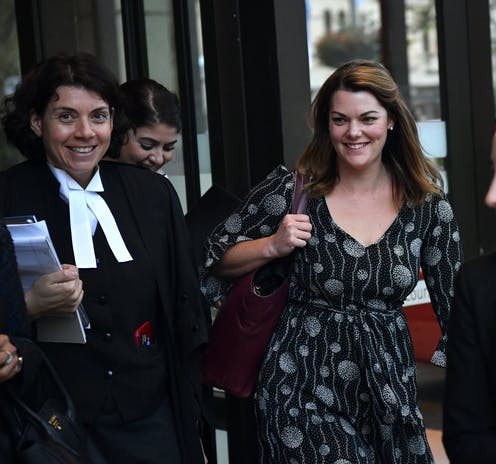 three women including lawyer and client leave court