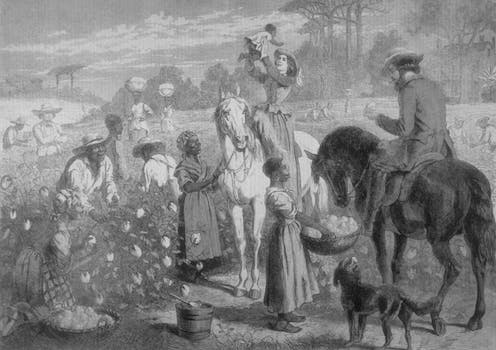 Plantation owners and enslaved people depicted in a 1864 picture.