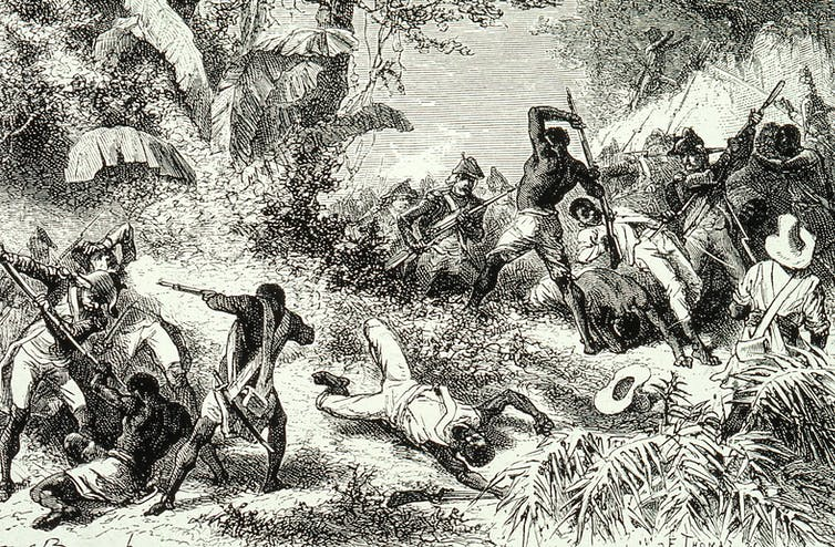 A 1791 depiction of fighting between French troops and Haitian revolutionaries.