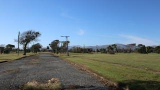 Campos y carreteras vacías y cubiertas de maleza
