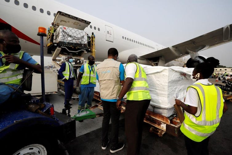 Ghana's first shipment of COVID vaccine gets of plane
