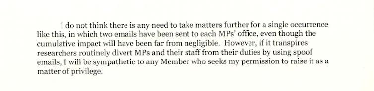 Un extrait d'une lettre envoyée aux bailleurs de fonds de la recherche avertissant que le Président de la Chambre pourrait prendre des mesures concernant de futurs projets de recherche qui