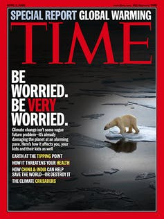 Cover of Time magazine with struggling polar bear