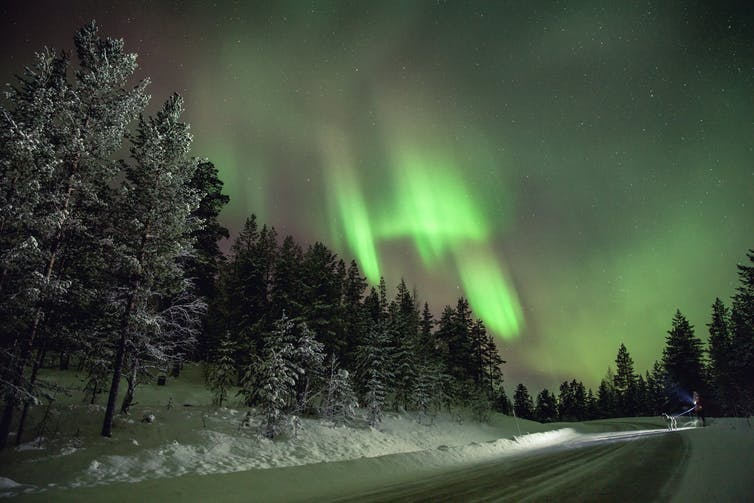 Sheets of green light in a Finnish night sky.