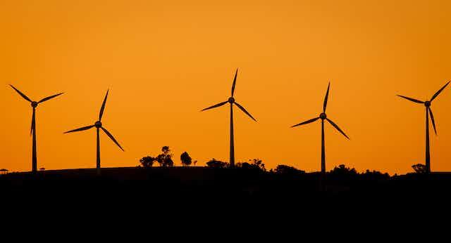 Wind farm at sunset