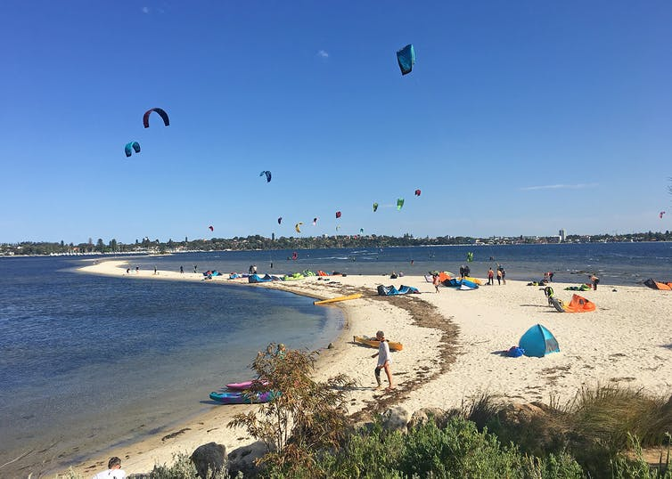 Point Walter, Bicton with kite surfers and kayakers