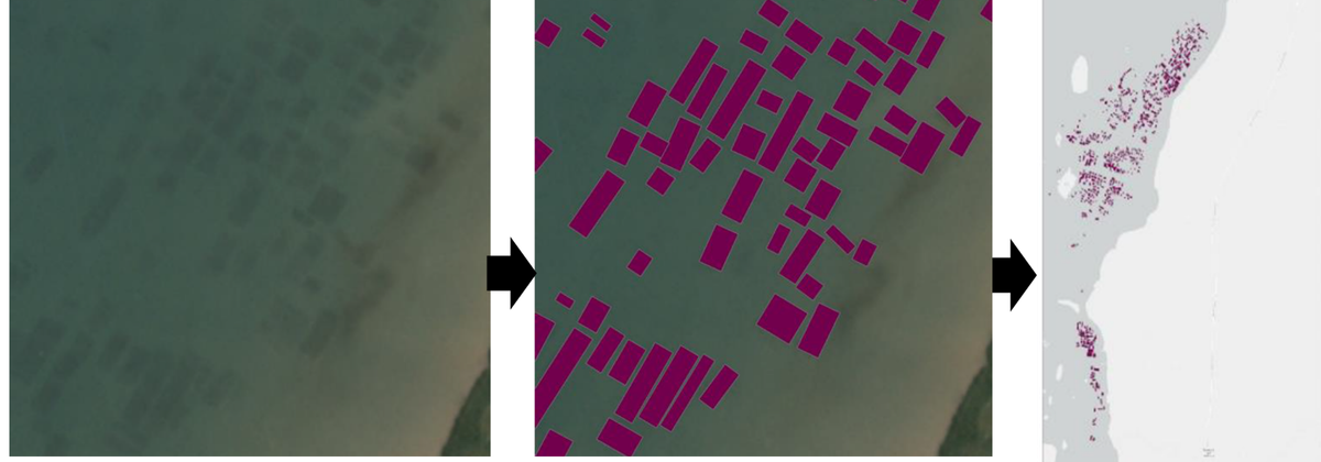 Converting satellite imagery to maps of seaweed farms. The Conversation