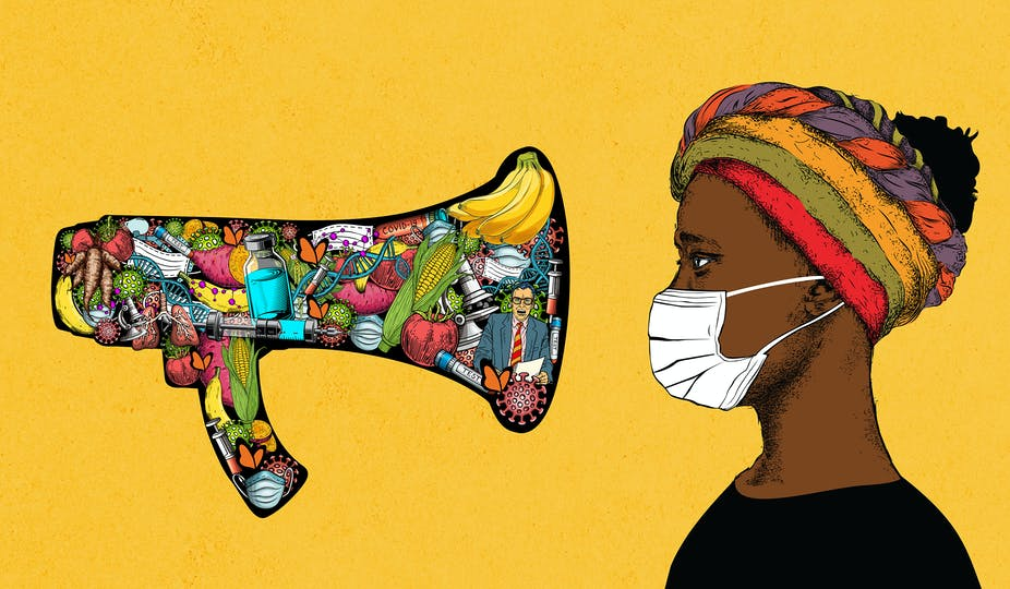 An illustration featuring a megaphone decorated with images of syringes, vegetables, DNA strands, fruits and masks is pointed at a woman wearing a colourful headwrap and a surgical mask.