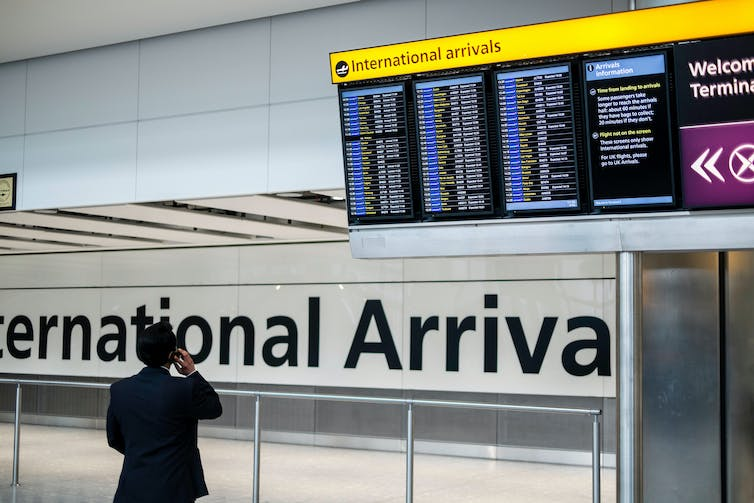 International arrivals area at Heathrow Airport.