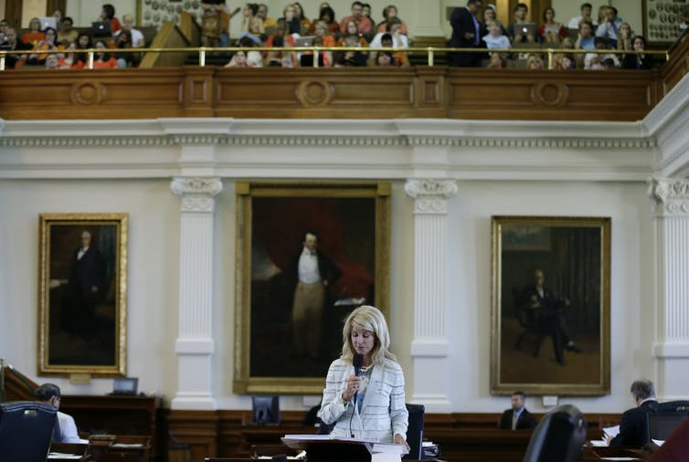 Texas state Sen. Wendy Davis filibusters an anti-abortion bill in 2013
