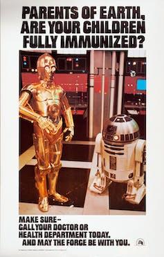 Personnages de Star Wars C3PO et R2-D2 dans une affiche faisant la promotion de la vaccination.