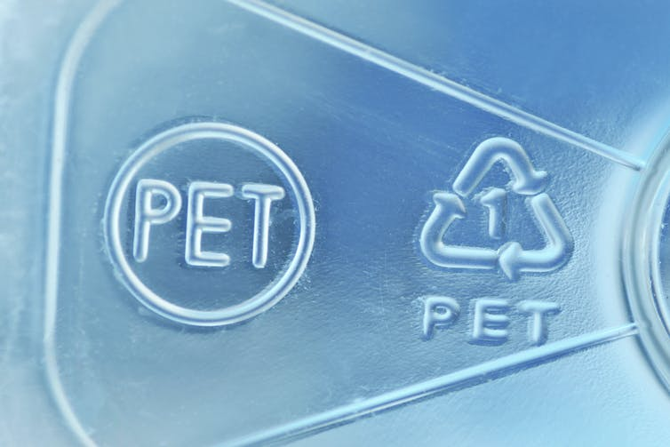 Symbols on PET plastic item