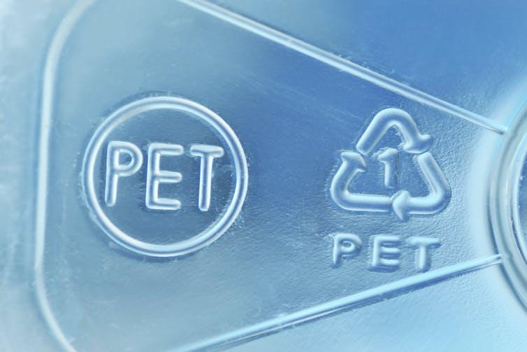 Symbols on PET plastic item