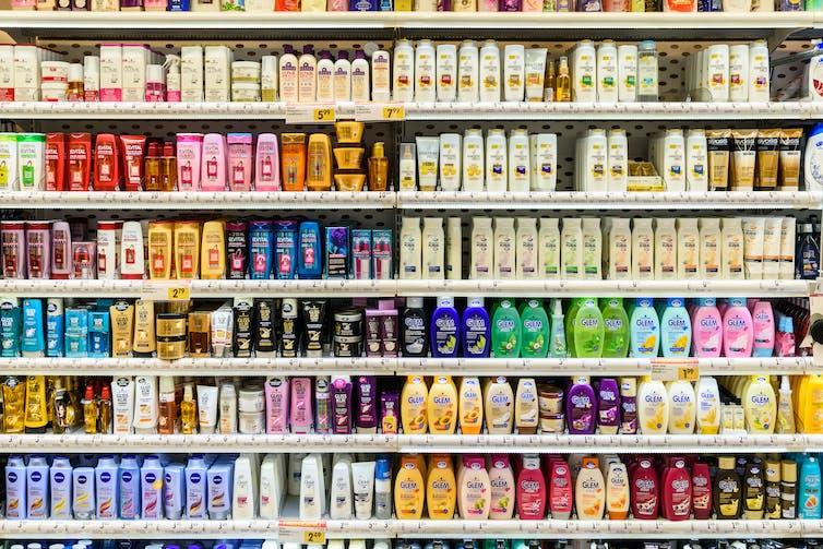 Shampoo bottles in supermarket