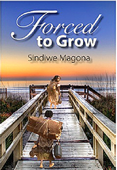 A book cover with an illustration of a Khoi San couple in skins approaching the sea on a modern boardwalk.