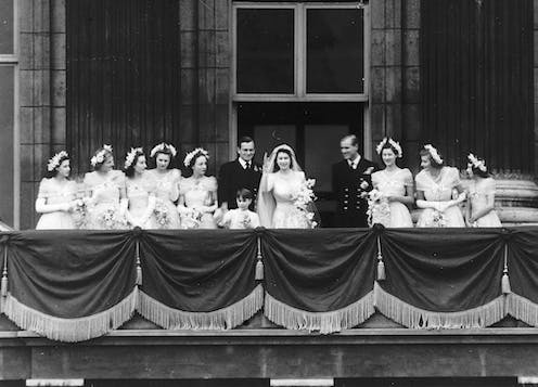 The marriage of Princess Elizabeth of Great Britain and Philip Mountbatten, prince of Greece and Denmark in November 1947.