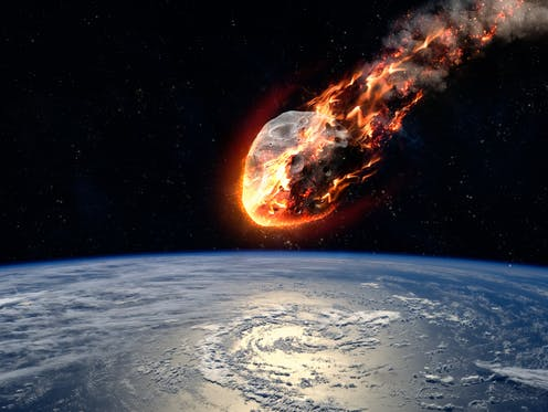 Drawing of an asteroid burning up as it approaches Earth, seen below.