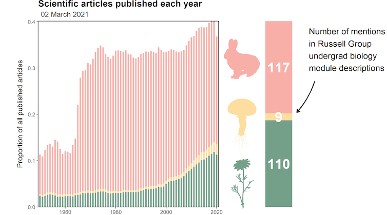 Bargraph of the number of scientific papers published each year on animals, fungi and plants