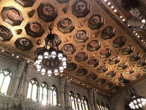 The ceiling of Canada's Senate chamber.