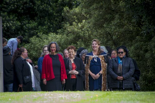 Group of people at a Māori welcome or powhiri