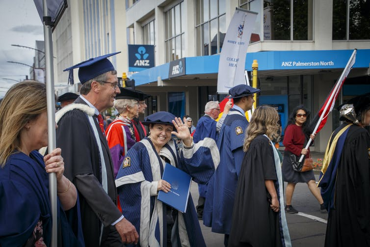 Massey University Vice-Chancellor Jan Thomas in a graduation procession