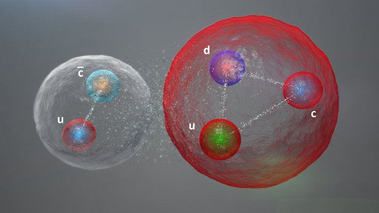 Illustration of a pentaquark bound like a molecule.