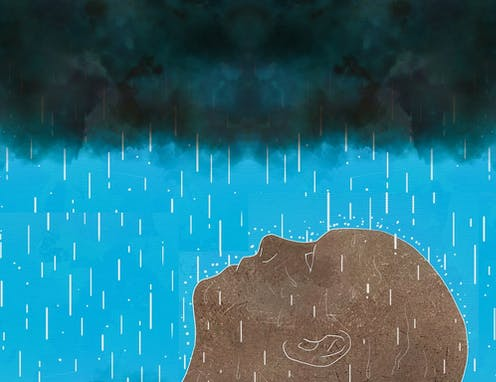 Illustration of upturned face with dark clouds and rain