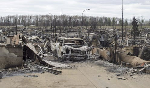 Burned trucks and cars surrounded by the remains of houses in a neighbourhood.