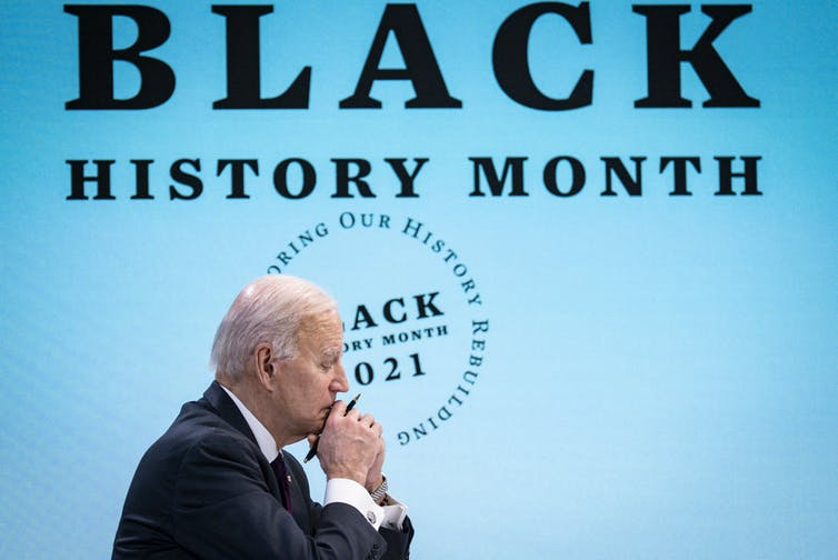 Joe Biden takes part in a virtual event for Black History Month