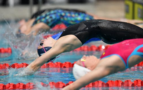 Swimmers launch backwards in the pool for the start of a race.