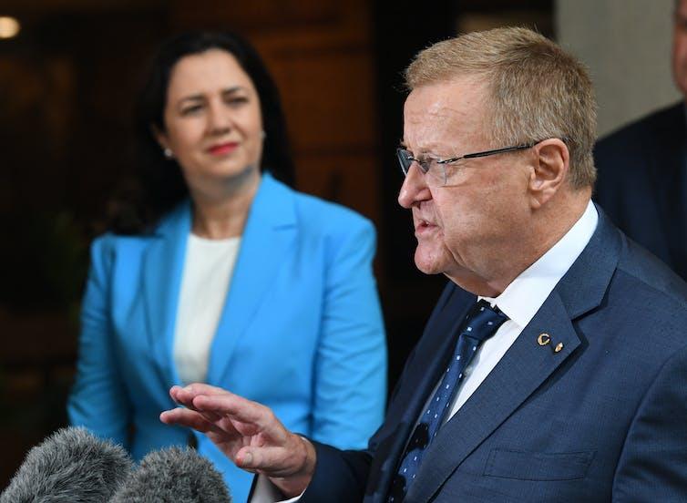Queensland Premier Annastacia Palaszczuk and AOC President John Coates.