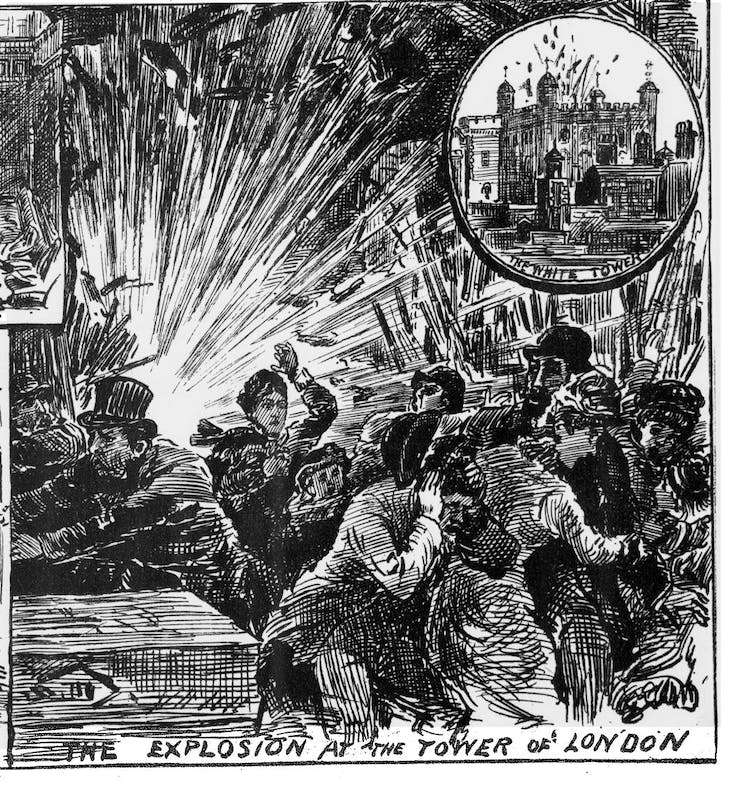 Black and white cartoon of people running from an explosion, with the Tower of London inset.