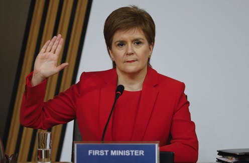 Nicola Sturgeon swearing her oath at the parliamentary inquiry into the Scottish government's botched handling of complaints a