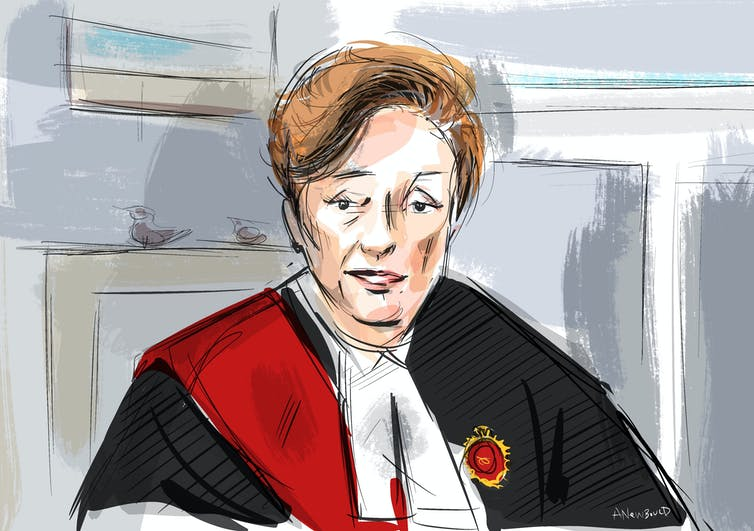 A courtroom illustration of Justice Anne Malloy