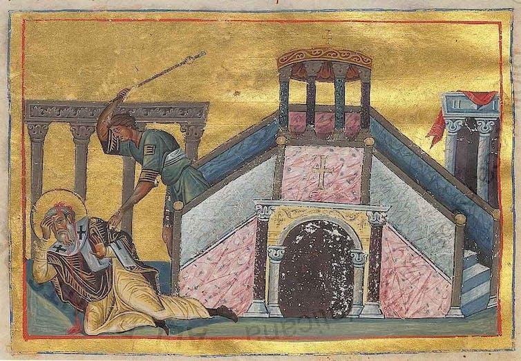 Une vieille peinture religieuse d'un homme frappant un autre homme avec un bâton