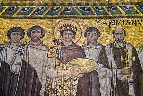 A Byzantine mosaic of Emperor Justinian.