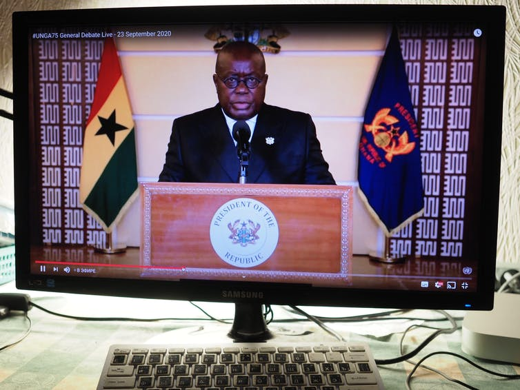 Nana Addo Dankwa Akufo-Addo, President, Republic of Ghana, speaks during the United Nations General Assembly seen on a computer monitor.