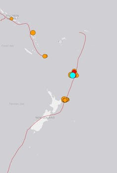 Map of earthquakes off New Zealand