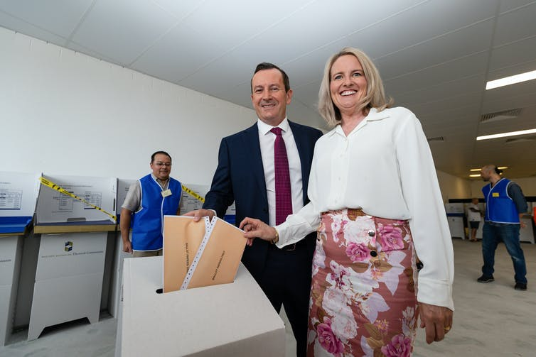 WA Premier Mark McGowan and his wife Sarah casting their votes at a pre-polling booth.