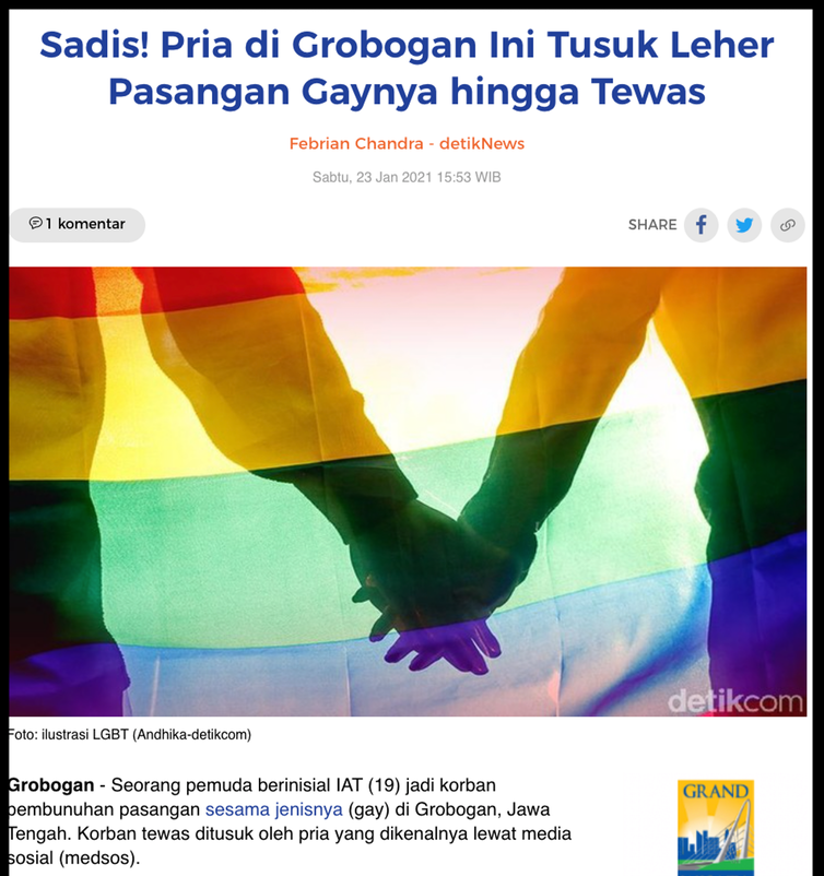 A screen capture of a news from Indonesian portal Detik.com. The title reads 'Sadistic! This Grobogan guy stab his gay couple to death'.