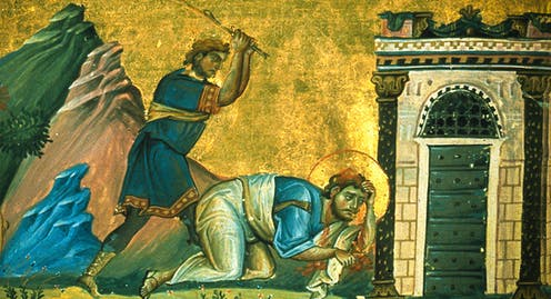 A saint is clobbered with a stick in an old manuscript painting