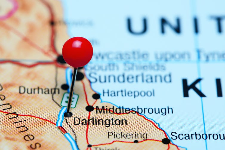 A map with a red pin locating Darlington.