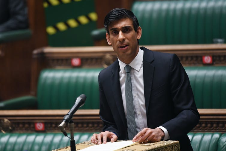 Rishi Sunak delivering the March 2021 budget