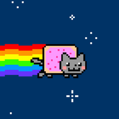 A cartoon cat with a Pop-Tart for a torso, flying through space, and leaving a rainbow trail behind