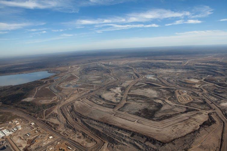 Huge oil field, destroyed landscape